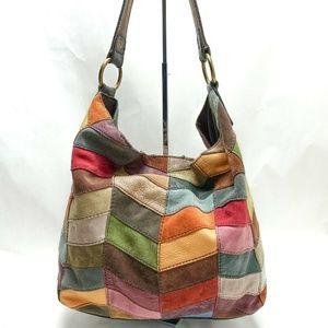 LUCKY BRAND Boho Chevron Leather Patchwork Bag